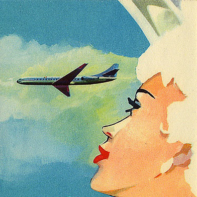 Lady looking through aircraft window at another airline plane