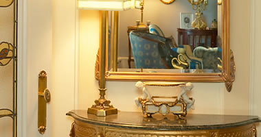 Antique ormolu side table with mirror