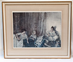 The Trio by Sir Willaim Russell Flint - print signed and with blindstamp