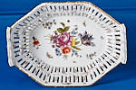 Hand painted floral scene by KPM Berlin artist on base of Porcelain Basket