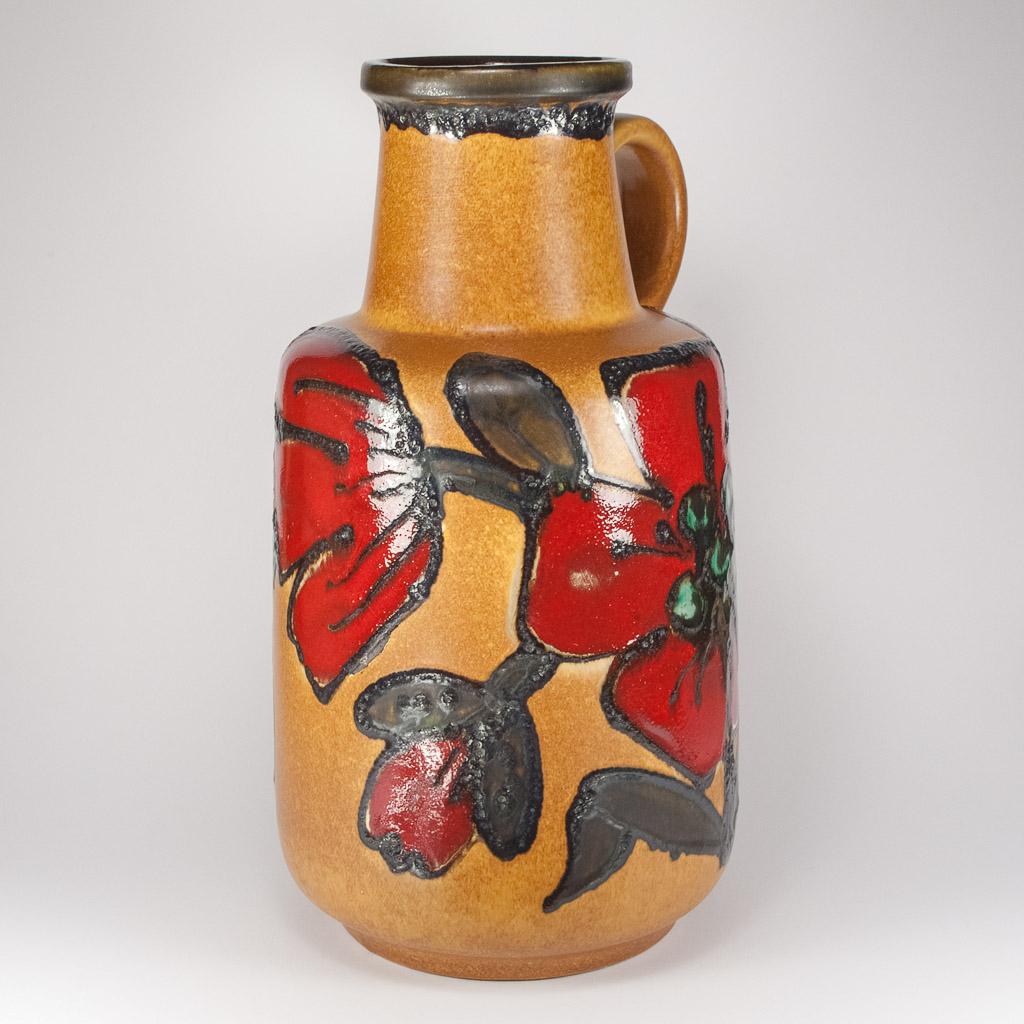 West German Fat Lava Floor Vase Poppy Glaze By Scheurich