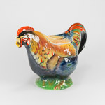 Rooster or chicken handpainted gloss teapot feathers have colours of deep reds orange, golden brown and deep purple feathers on green grass base Royal Winton Chanticleer Teapot