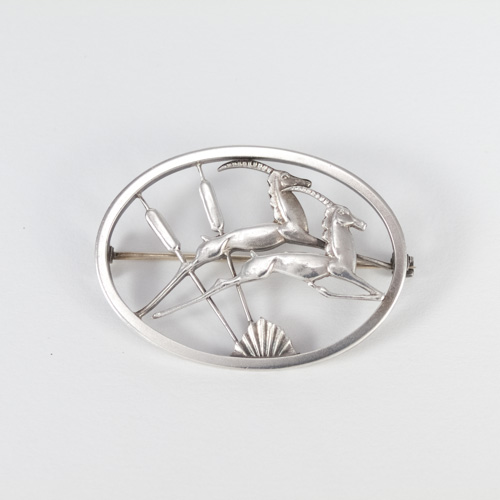 Vintage Silver Brooch, 1956, two leaping gazelles designed by Geoffrey Bellamay, British equivalent of Deer Brooch by George Jenson