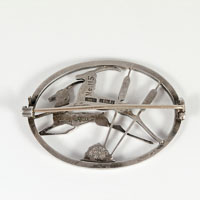 Two leaping deer or gazelle solid silver brooch retailed by George Tarratt and designed by Geoffy Bellamy