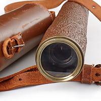 Objective lens and leather case Broadhurst Clarkson, thermoset clad Scout Regiment Snipers Spotting Telescope.