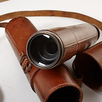 Objective lens and leather case for HBMCo Scout Regiment Snipers Spotting Telescope. Houghton Butcher.