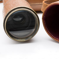 Objective lens and leather case with burgandy liner for HCR and Son Scout Regiment Snipers Spotting Telescope