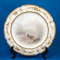 Royal Doulton Cabinet Plate signed by Samuel Wilson, Game Bird rural scene, gilding by hodkinson