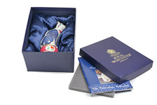 Original deep blue Royal Worcester sating lined gift box with Fine Bone China Cat candle snuffer