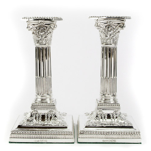 James Dixon and Sons Sterling Silver Square Base Corinthian Column Candlesticks