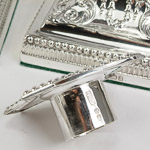 Detachable solid silver push fit scounce with clear James Dixon and Sons english stamped hallmark