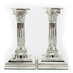 Neoclassical Sterling Silver Square Base Corinthian Column Candlesticks by James Dixon & Sons